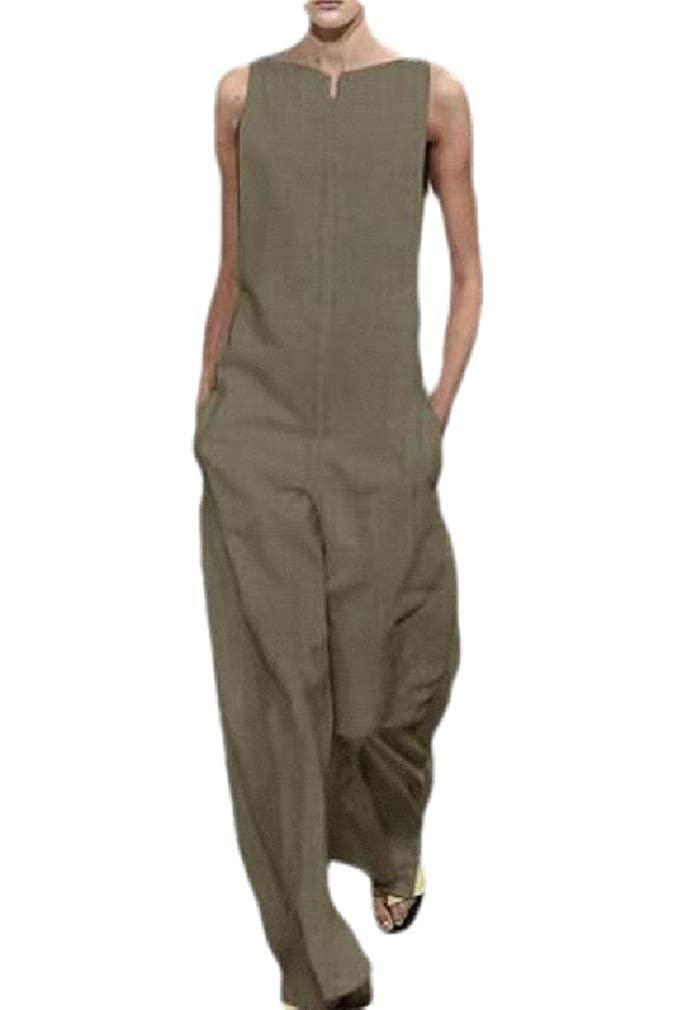Sweatwater Womens Rompers Pocket Sleeveless Wide Leg Casual Summer Jumpsuit