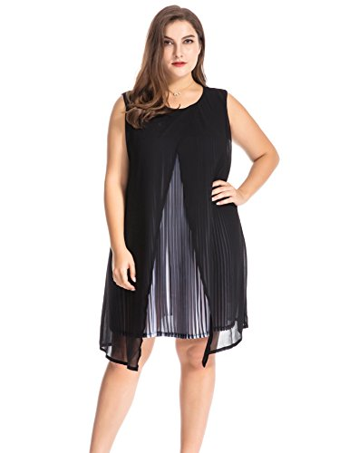 Chicwe Women's Plus Size Chiffon Multi Layers Split Pleat Tunic Dress - Casual Party and Work Dress 2X Black