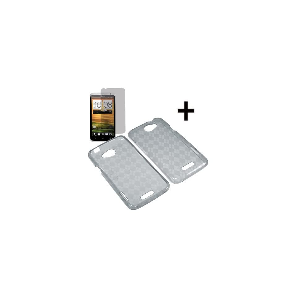 BC TPU Sleeve Gel Cover Skin Case for AT&T HTC One X + Fitted Screen Protector  Smoke Checker