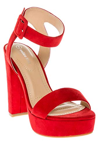 CALICO KIKI Women's Shoes Buckle Ankle Strap Open Toe Chunky High Heel Platform Dress Sandals (7 US, RED_SU)