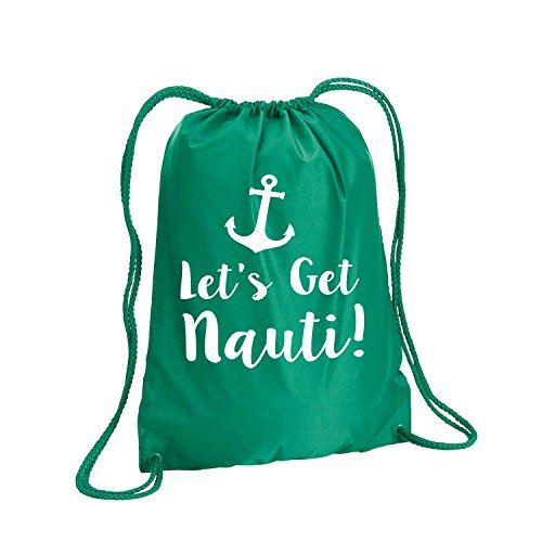 Lets Get Nauti Cinch Pack in Kelly - Large 17x20