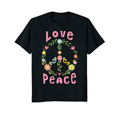 Mens Hippie Peace and Love T-Shirt for Beautiful People Medium (Male Hippie)