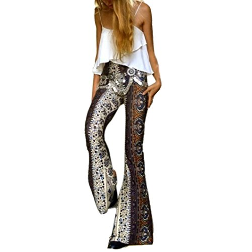 Stretch Flare Pants Womens Ankle Length Printed Stretch Flare Pants Women's Sexy Tie Dye Print Bandeau Top Flared Bell Bottom Pants Outfits (S, (70 S Outfit)