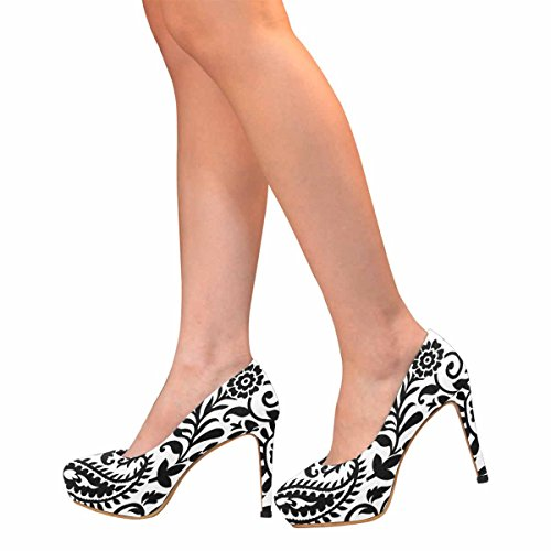 InterestPrint Womens Classic Fashion High Heel Platform Pumps Paisley Black and White Pattern YHyQta