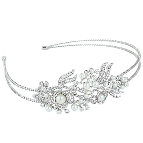 EVER FAITH Silver-Tone Austrain Crystal Cream Simulated Pearl Flower Hair Band Clear