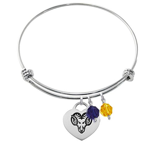 West Chester Golden Rams Stainless Steel Adjustable Bangle Bracelet with Heart Charm & Crystal Accents