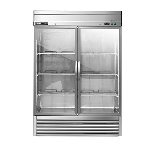 Maxx Cold MXSR-49GD Two 2 Glass Door Reach-In Upright Commercial NSF Refrigerator Cooler - ENERGY STAR ()