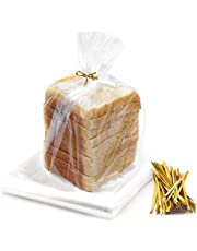 Bread Bags for Homemade Bread - 100 Pack Large Plastic Reusable Bag with 100 Ties For An Airtight Moisture-free Preservation for Home Bakers and Bakery Owners