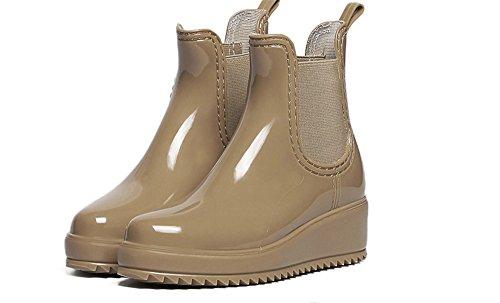 Women's Ankle Flat Sole Clear Jelly Martin Rain Boots(apricot-39/8.5 B(M) US Women)