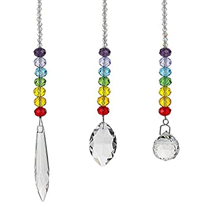 H&D HYALINE & DORA Chandelier Crystals Prisms Rainbow Chakra Suncatcher  with Beads Decorating Hanging Ornament,Set of 3