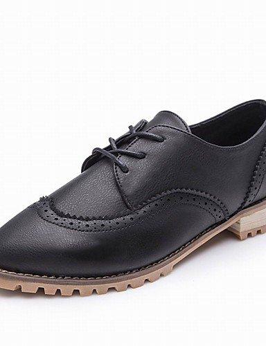 ZQ Zapatos de mujer-Tacón Robusto-Puntiagudos-Oxfords-Oficina y Trabajo / Vestido / Casual / Fiesta y Noche-Semicuero-Negro / Beige , black-us8 / eu39 / uk6 / cn39 , black-us8 / eu39 / uk6 / cn39 beige-us7.5 / eu38 / uk5.5 / cn38