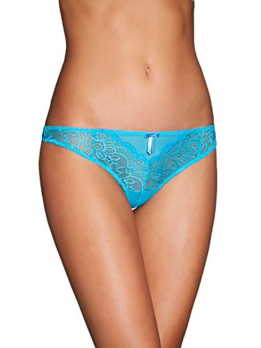 Frederick's Of Hollywood Women's Lace Thong Panties - Ladies Sexy Lingerie - Valencia Blue Atoll, Medium