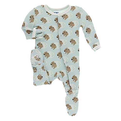 Kickee Pants Little Boys Print Footie with Snaps - Spring Sky Diictodon, 2T ()