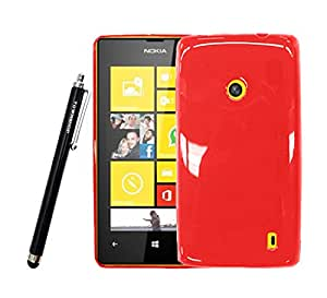 For Nokia Lumia 520 (AT&T) Red Crystal Soft TPU Gel Skin Cover Case with Townshop[TM] Stylus Pen