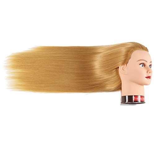 "26""-28"" Mannequin Head Hair Styling Training Head Manikin Cosmetology Doll Head Synthetic Fiber Hair Hairdressing Training Model With Free Clamp (Blond)"