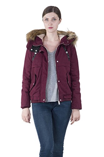 Leather Lined Parka - INFRON Women Wine Red Winter Hooded Fleece-lined Parka Coat with Faux Leather Panel