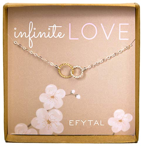 EFYTAL for Girlfriend/Wife, Sterling Silver & Gold Filled Cute Infinity Necklace Sweet Gifts from EFYTAL
