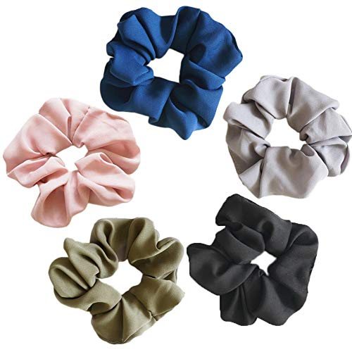 Scrunchies for Hair, Hair Ties Bands Cute Satin Cotton Scrunchies for Women 5 Pack ()