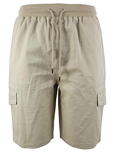 Evrimas Men's Cargo Shorts Elastic Waist Drawstring Cotton Loose Fit Casual Lightweight Outdoor Multi Pocket Twill Pants Beige