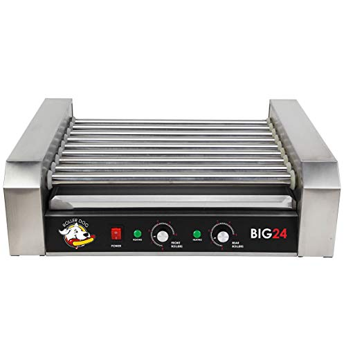 Funtime RDB24SS Stainless Steel Non Stick Hot Dog Roller Grill with Drip Pan With Dual Temperature Controls