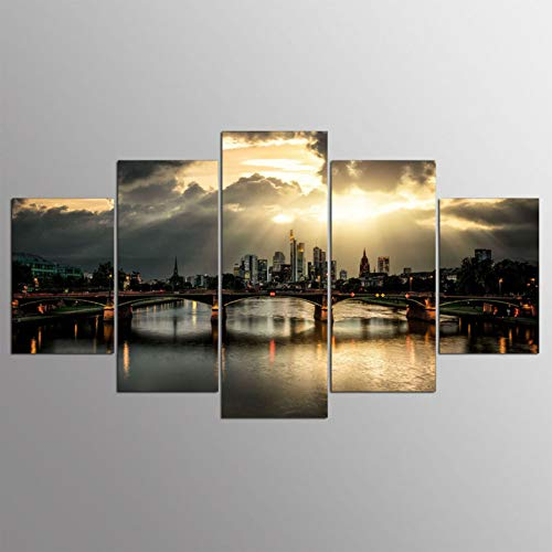 Print Wall Art Painting Home Decor Canvas 5 Pieces Germany Frankfurt Bridge Landscape for Living Room Hd Printed -