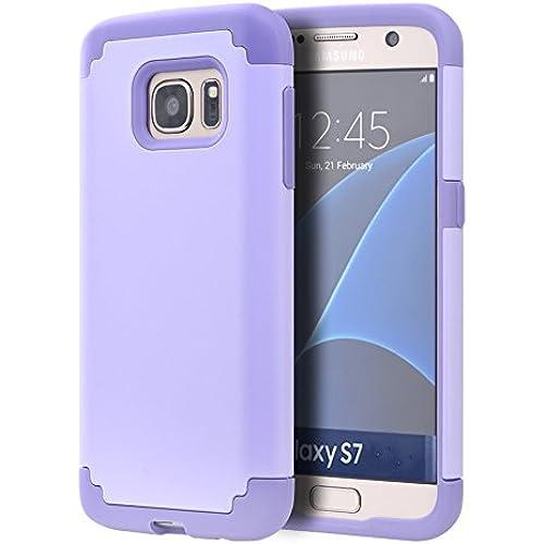 Galaxy S7 Edge Case, S7 Edge Case, Samsung Galaxy S7 Edge Case, AMCHOICE(TM) Armor Back Case For Samsung Galaxy S7 Edge (Purple+Purple), (Free Sales