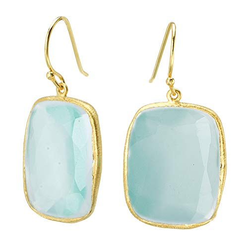 18k Gold over 925 Silver Rectangle Aqua Chalcedony Earrings