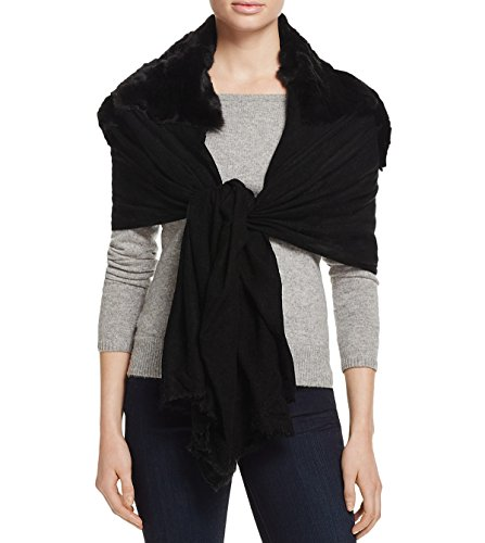 Gaynor Women's Neve Rabbit Fur & Wool Stole Scarf Wrap, Black by Gaynor