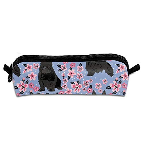 shirt home Scottie Dog Cherry Blossom Spring Cute D Pencil Pen Case Pouch Bag with Zipper for Girls Kids School Student Stationery Office Supplies 21×5.5×5 cm
