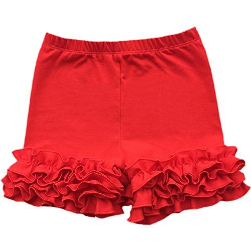 IWEMEK Little Girl Double Icing Ruffle Cotton Shorts Bike Sport Bottom Pants Activewear (Ruffle Red Shorts)