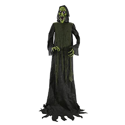 [Halloween Lifesize 6' Animated Spooky Witch W/ Led Lighted Eyes Prop Decoration] (Scary Halloween Witches)
