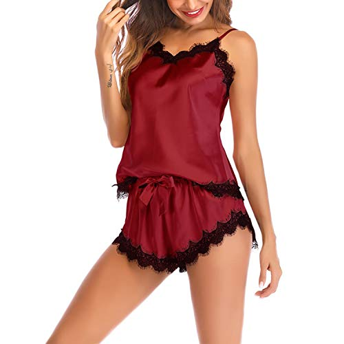 Lu's Chic Women's Satin Pajama Cami Set Silky Lace Nightwear 2 Piece Lingerie Short Sleepwear