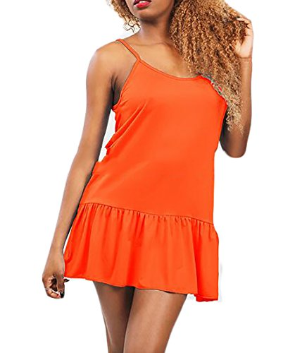 Jaycargogo Womens Strap Solid Spaghetti Color Sexy Dress Shift Orange Mini rRprqTw