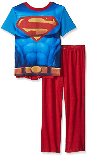 Justice League Big Boys Superman 2 Piece with Cape, Red, -