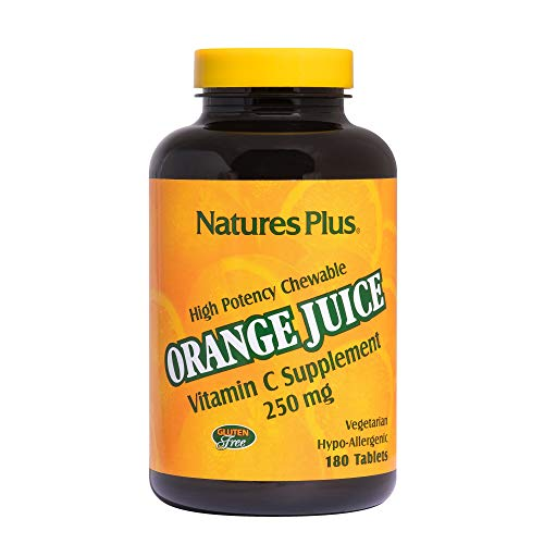 Natures Plus Orange Juice Vitamin C Chewable - 250 mg Ascorbic Acid, 180 Vegetarian Tablets - High Potency Immune Support Supplement, Antioxidant - Gluten Free - 180 Servings