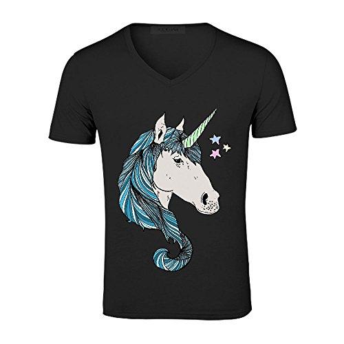Unicorn Star Sad T Shirts For Boys V neck Black