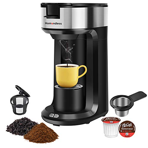 Single Serve K Cup Coffee Maker Brewer for K-Cup Pod & Ground Coffee, Compact Design Thermal Drip Instant Coffee Machine with Self Cleaning Function