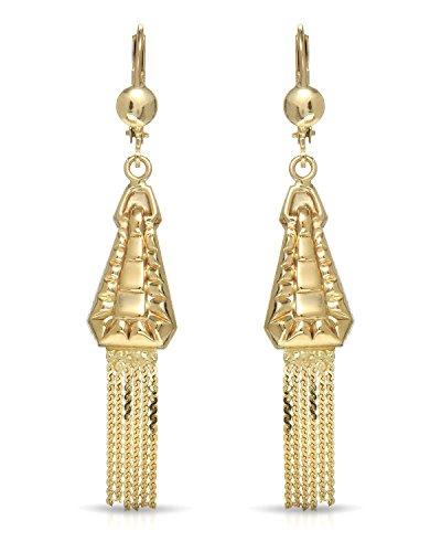 MCS Jewelry 10 Karat Yellow Gold Leverback Drop Dangling Strands Earrings (56 mm) ()