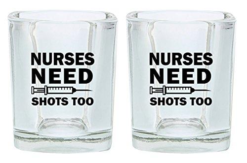 Nurse Shot Glass Nurses Need Shots Too Funny Nurse Gifts Nursing School Gift Shot Glasses 2-Pack Square Shot Glass Set Black