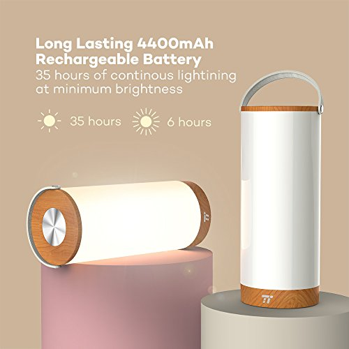 TaoTronics Touch Lamp Table Lamps For Bedroom Living Room Dimmable Bedside Portable Night Light Camping Lights BBQ Rechargeable With