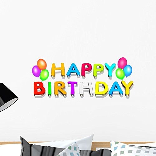 - Wallmonkeys WM42150 Happy Birthday Peel and Stick Wall Decals (24 in W x 13 in H), Medium