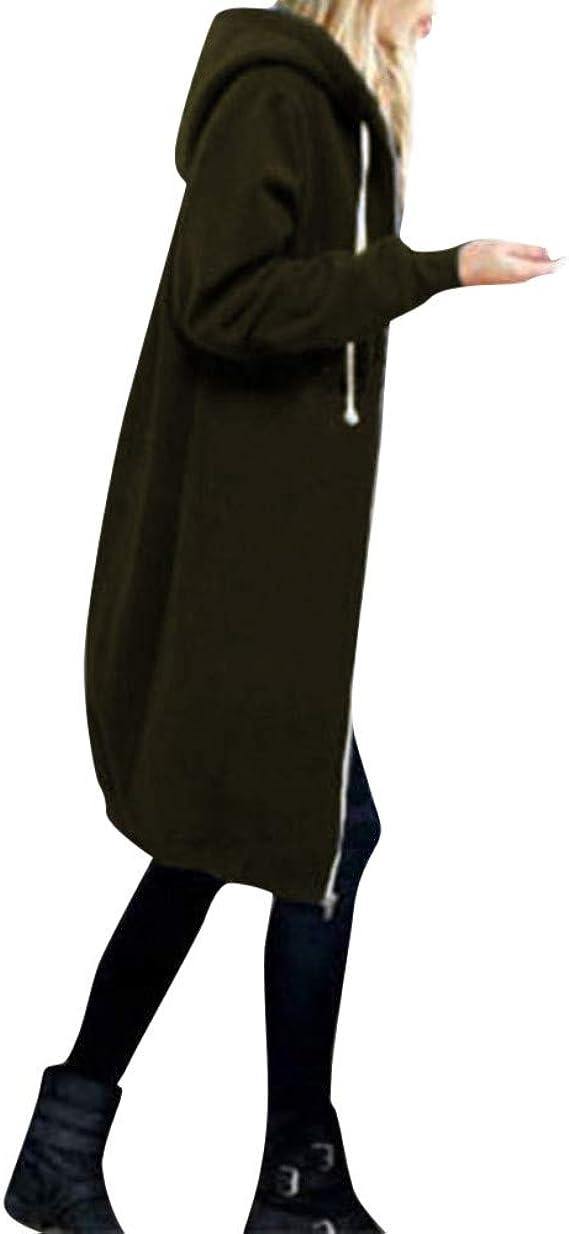 Plus Size Women Warm Zipper Open Hoodies Solid Sweatshirt Large Size Long Coat Jacket Tops Outwear Army Green