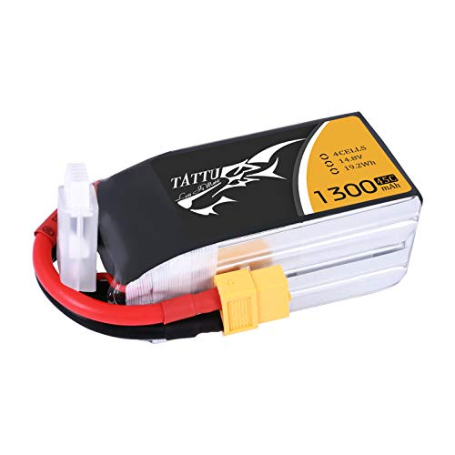 Tattu 14.8V 1300mAh LiPo Battery Pack 45C 4S with XT60 Plug for Nemesis 240 Mini Tweaker 180 Micro Quad LRC Freestyle V1 MXP180 Danaus Vortex FLIP 250S Mini FLIP RC Heli Airplane Drone FPV Quadcopter