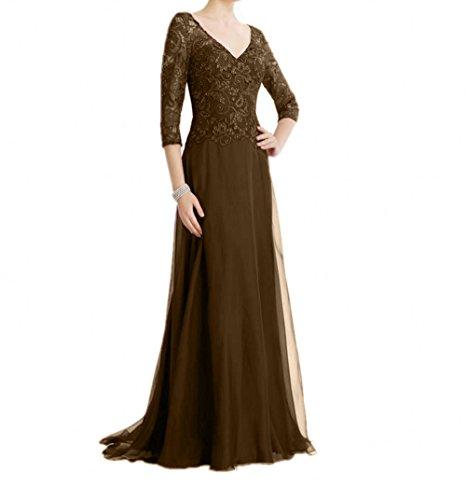 Damen mia La Abendkleider Fesltichkleider Rock A Linie Promkleider Braun Braut Lang Brautmutterkleider Spitze wOqU4UE