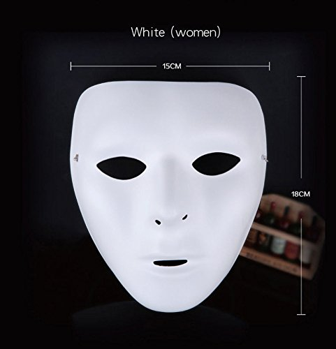 Plain White/ Green Face Masquerade Plastic Mask for Adult Hip-Hop Ghost Dance Fancy Dress Party - Pack of 10 (Everything Halloween White Plains)
