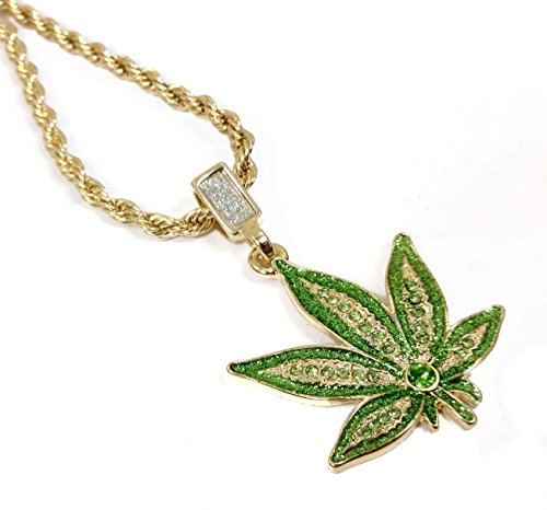 18k Gold Plated Green Marijuana Leaf Pendant Necklace with 24