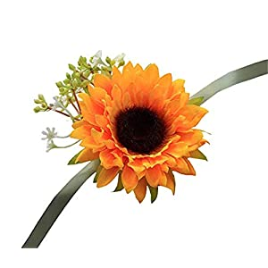 Flonding Girl Bridesmaid Wedding Wrist Corsage Bride Wrist Flower Corsages Wristband Simulation Sunflower for Wedding Prom Party Homecoming Hand Flowers Decor 31