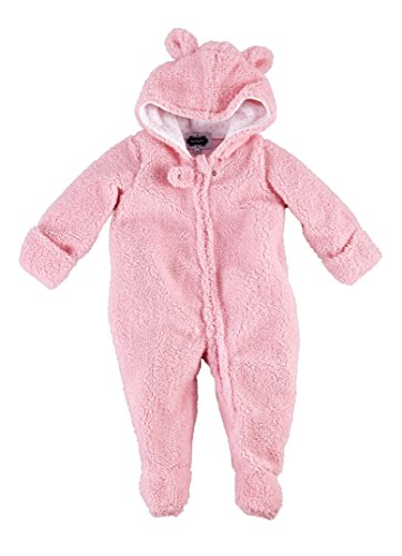 Mud Pie Sweetheart Baby Girl Pink Sherpa Bear Bunting One-Piece -