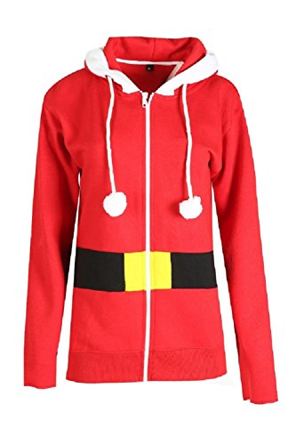 Momo&Ayat Fashions Ladies Mens Santa Elf Hooded Zip Through Jacket Size Small to XL (Medium, Santa)