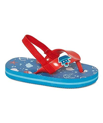 Zac & Evan Toddler/Little Boy Whimsical Flip Flops/Sandals (7/8 Toddler, Red/Blue Tugboats)